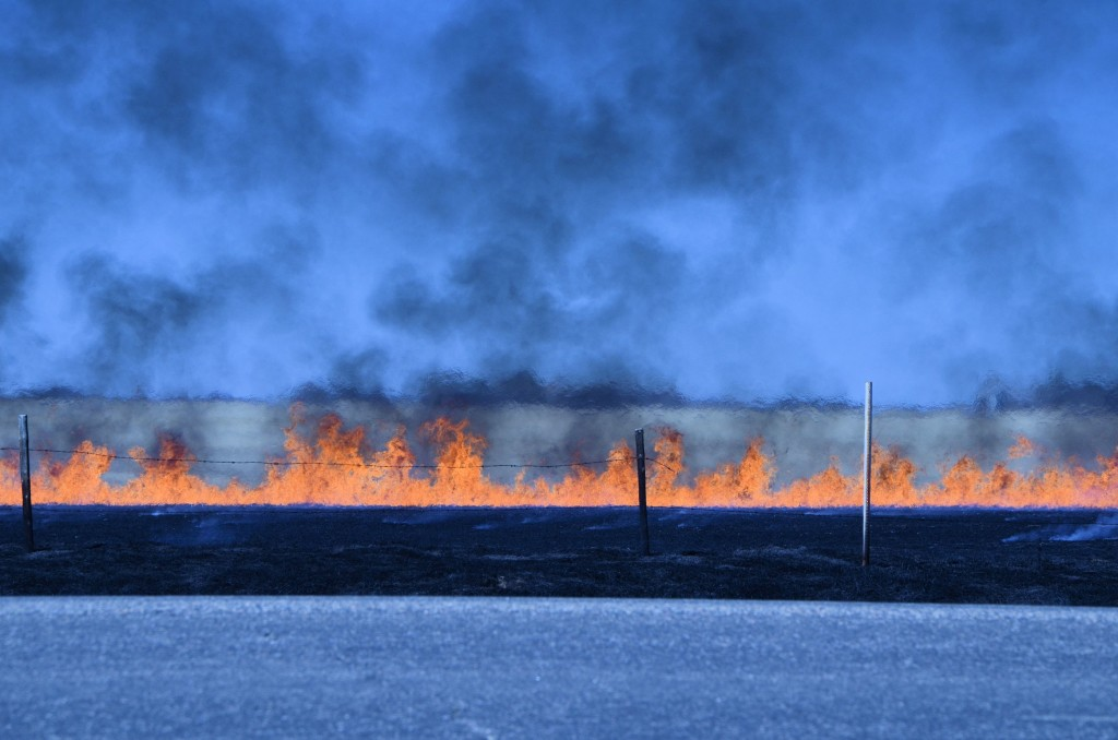 fire near Highway 14, east of Unity SK