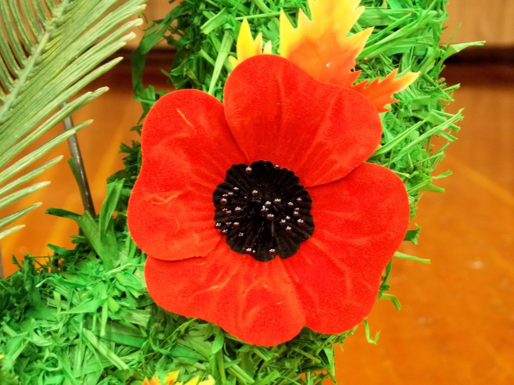 Poppy on Remembrance Day wreath